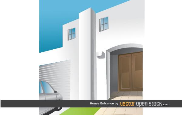 двери, фасад дома, вход, в векторе,  AI