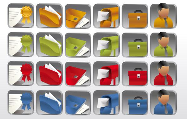 Иконки в векторе: портфели, папки.