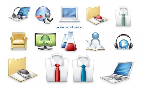 ноутбук, бизнес, рубашка с галстуком, колбы, наушники, кресло, иконки в векторе, AI