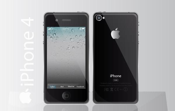 мобильный телефон, iPhone 4, рисунок в векторе,  Ai