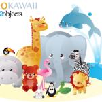 Зоопарк в векторе. Векторные животные: бегемот, лев, заяц, пингвин, птицы, змея.
