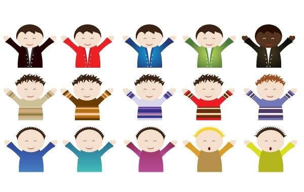 Счастливые дети разных национальностей в векторе.