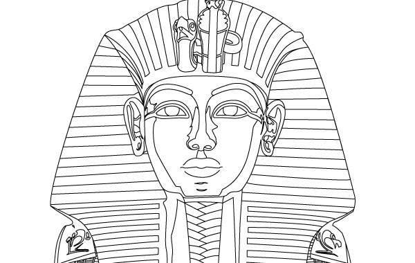 история, фараон, Египет,  контурный рисунок в векторе, EPS