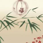 Картинка высокого разрешения Китай. С бамбуком, бусами и бумажным фонарем. Фон. Обои.