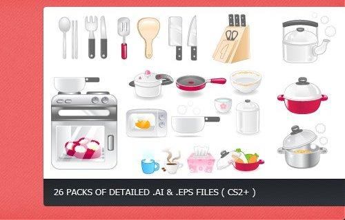 Клипарт посуды и техники для кухни в векторе. Рисунок плиты, кастрюль, сковородок, ножей.