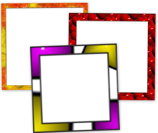 PSD исходники рамок и картинки рамок JPG. Рамка с сердечками и две рамки с абстрактным фоном.