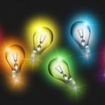 Вектор Разноцветные электрические лампочки