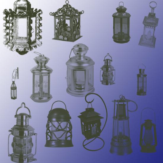 лампы, фонари, кисти для фотошоп