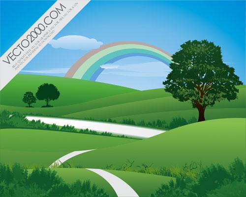 лето, пейзаж, радуга, деревья, в векторе, AI, CDR