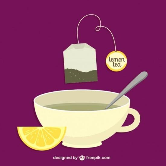 Чай с лимоном в векторе.