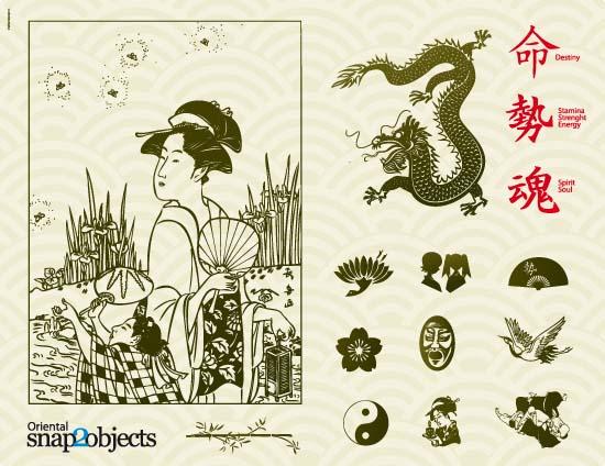 Древний восток, Китай, Япония, дракон, иероглифы, женщины, веер, знак инь-янь, маска, лотос, птица, контур, силуэт, EPS, AI, формат, SVG