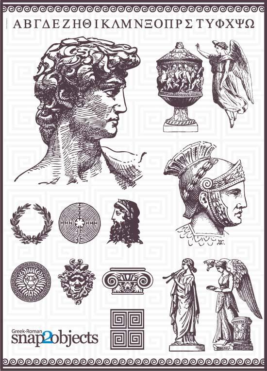 Клипарт Древний Рим. Вектор. Рисунок, эскиз, контур. Войны, статуи.