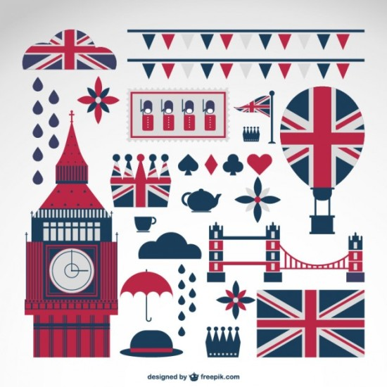 британский флаг, флажки, Биг Бен, зонт, тучи, дождь, шляпа, мост, воздушный шар, AI, EPS, иконки в векторе