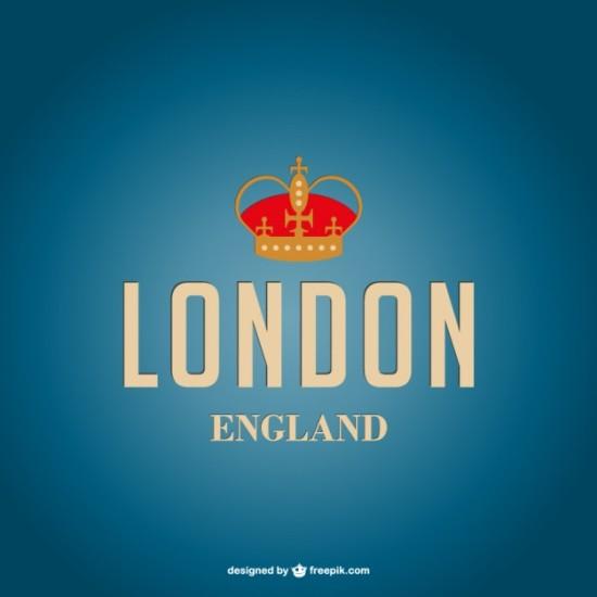Красивая надпись Лондон с короной в векторе.