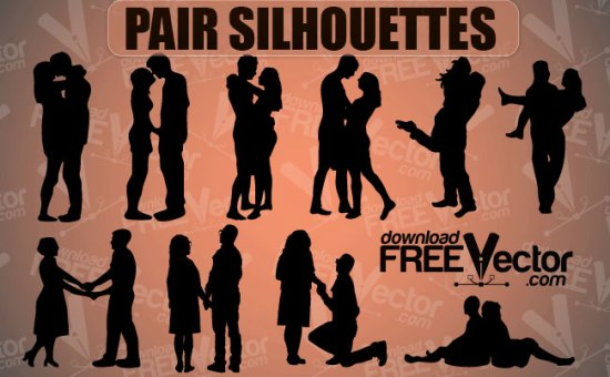 Силуэт влюбленной, целующейся пары в векторе.