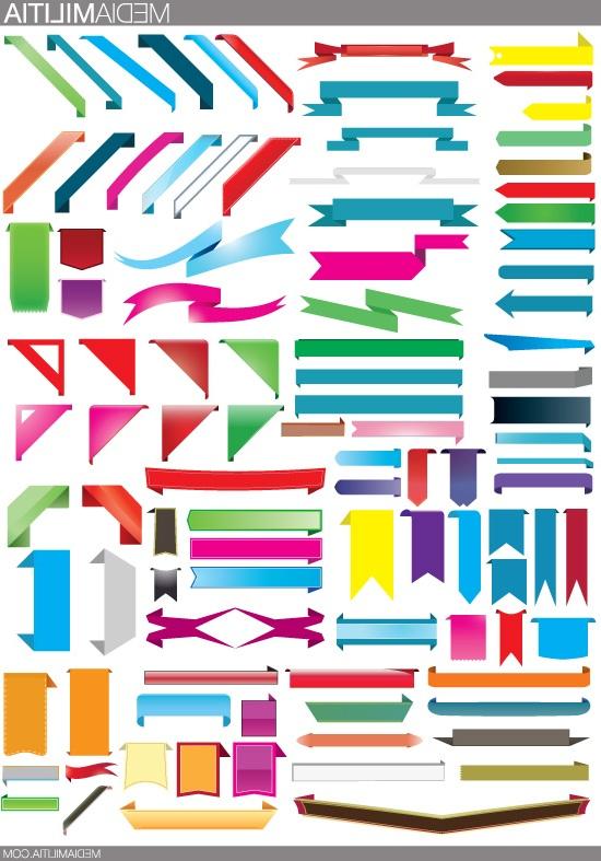 Флажки, баннеры, ленты, флаги, уголки. Вектор, иконки, клипарт.