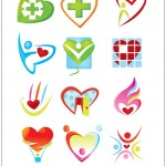 Сердца, медицина, логотипы. Векторный клипарт.