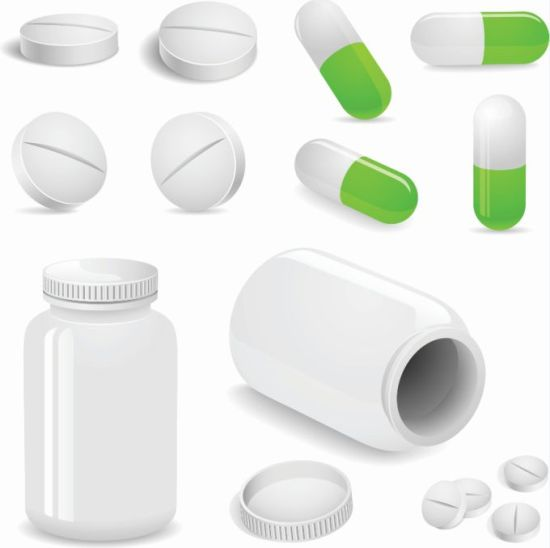 Векторная картинка таблеток, банок, капсул на тему медицины.