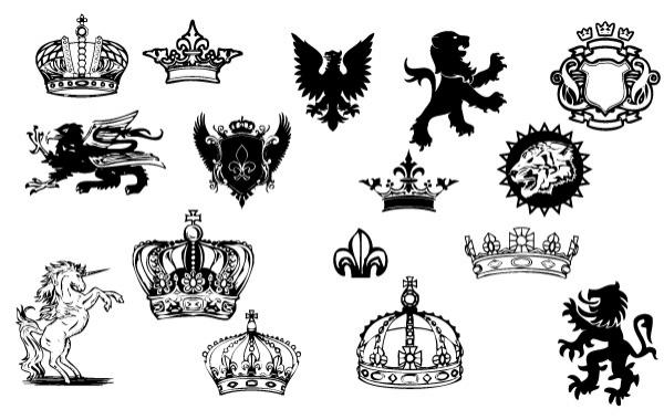 геральдика, короны, единорог, черно - белые рисунки, рисунок, в векторе,  EPS