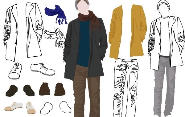 пиджак, брюки, туфли, шарф, контурные рисунки мужской одежды, рисунок в векторе, AI