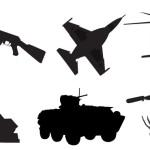 Силуэты вооружения: самолет, вертолет, винтовка.