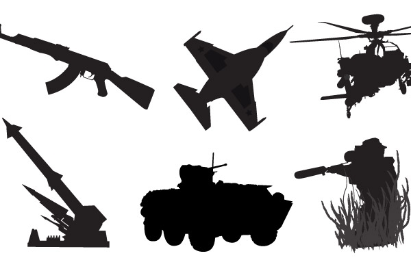 оружие, самолет истребитель, вертолет, ракетный комплекс, БТР, силуэт, трафарет в векторе, AI