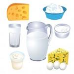 Молочные продукты. Векторные рисунки творога, сыра, сливок, молока