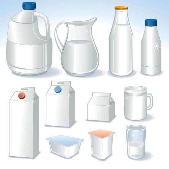 Бутылки, графины, пакеты, емкости для молока, воды, кефира. Векторное изображение.