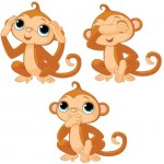 Забавные обезьянки на белом фоне в векторе.