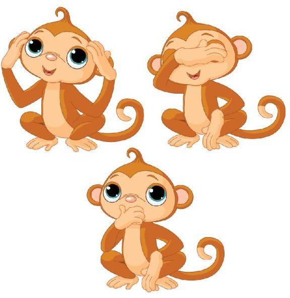 обезьяны, обезьянки, рисунок, ничего не слышу, ничего не вижу, никому ничего не скажу, в векторе, eps