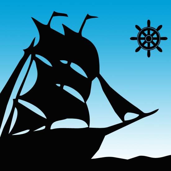Пираты, якорь, корабли, штурвал, череп, веселый Роджер. Фигуры для фотошоп.