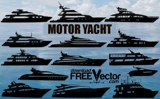 яхты, моторные лодки, суда, отдух, туризм, векторный силуэт, в векторе, SVG , EPS , AI