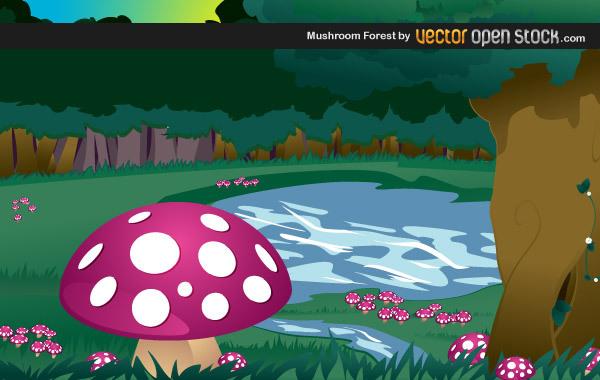 Мухоморы в лесу в векторе