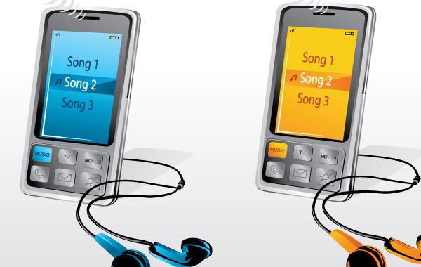 MP3 плеера две штуки разных цветов в векторе