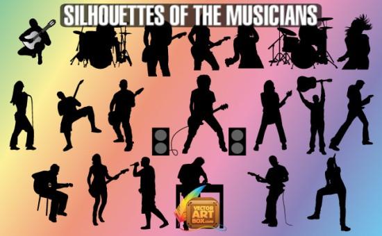 Силуэты музыкантов, барабанщиков, гитаристов, певцов в векторе. Трафарет.