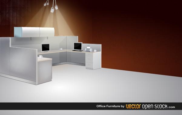Офисная мебель в векторе.