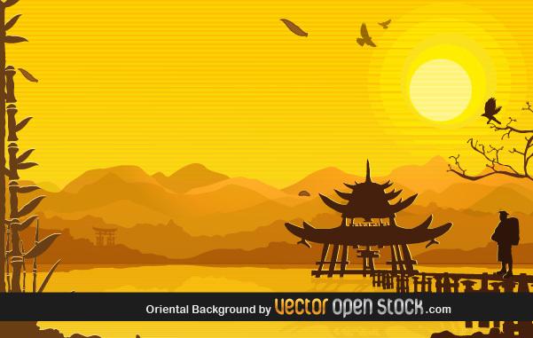 Восточный фон с бамбуком и горами