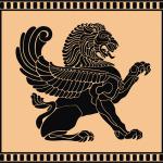 Лев с крыльями в векторе.