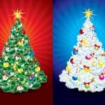 Две новогодние нарядные елки. Елка в векторе