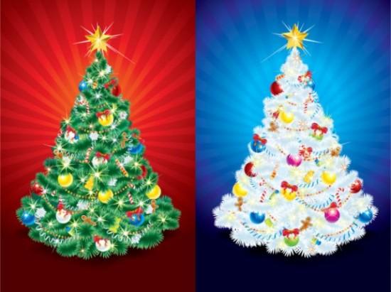 Новый год, новогодние елки, нарядная елка, рисунок в векторе, EPS