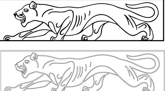Контурный рисунок пантеры в векторе.