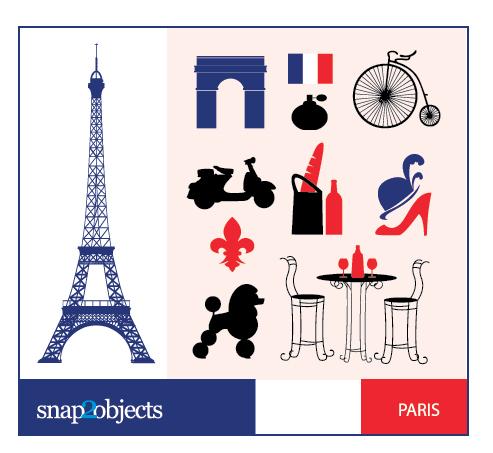 Векторный клипарт Париж, Эйфелева башня, туфли, шляпа. Иконки в векторе.