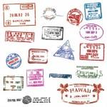 Штампы, печати в паспорте в векторе