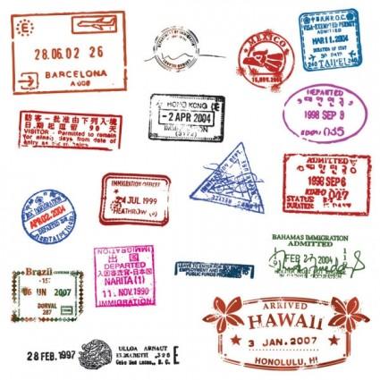 штампы, печати, в паспорте, на границе, в векторе, векторные, EPS