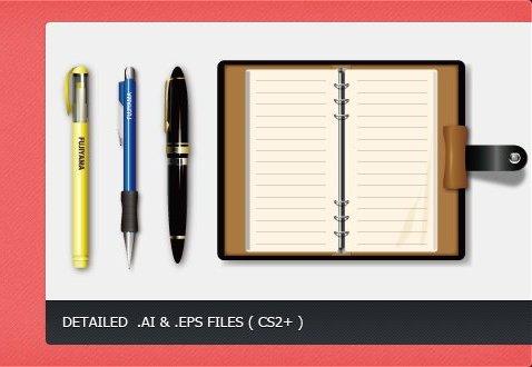 Блокнот и ручки. Векторный рисунок.