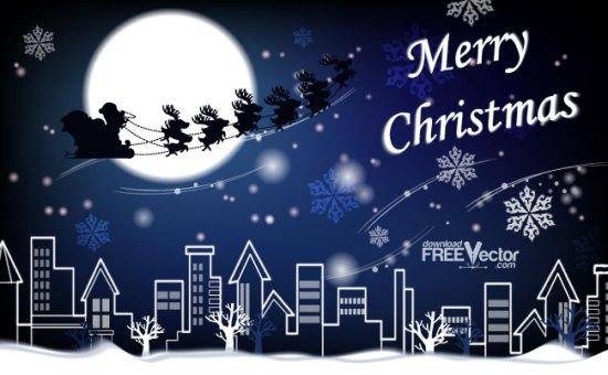 Санта Клаус, олени, ночной город, рисунок в векторе,  AI