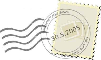 Гашеная марка в векторе. Почта.