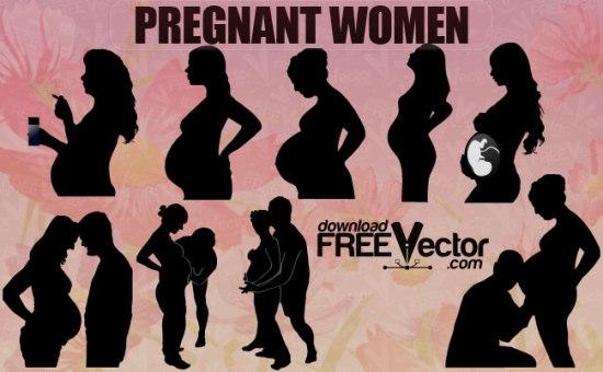 Силуэт беременной женщины в векторе. Трафарет.