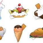 Векторные пирожные, мороженное, еда, бутерброд, кофе.