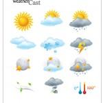 Векторный клипарт, иконки погода. Облака, солнце, дождь, снег.